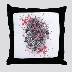 Painted Roses Throw Pillow