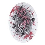 Painted Roses Oval Ornament