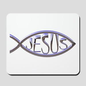SILVER JESUS FISH Mousepad