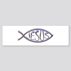 SILVER JESUS FISH Bumper Sticker