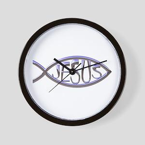 SILVER JESUS FISH Wall Clock