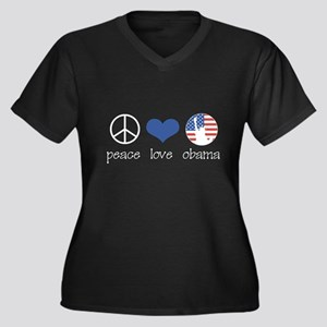 Peace Love Obama Women's Plus Size V-Neck Dark T-S