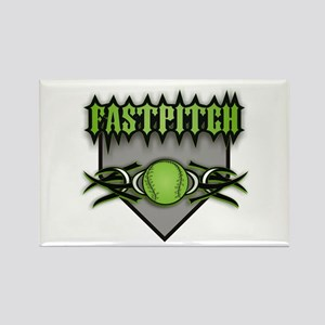 Fastpitch Home Plate Green Rectangle Magnet