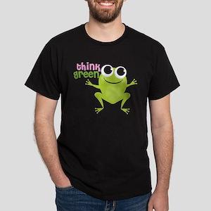 "Cute Frog & ""Think Green"" Dark T-Shirt"