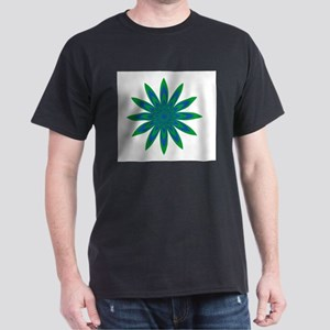 Green and Blue Flower Dark T-Shirt