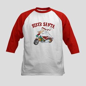 Biker Santa Kids Baseball Jersey