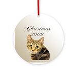 Cat Christmas Ornament (Round)