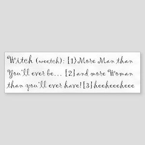 "InkWitch Humor ""Witch"" Bumper Sticker"