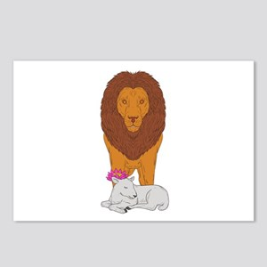 Lion Standing Over Lamb Lotus Flower Drawing Postc