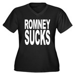 Romney Sucks Women's Plus Size V-Neck Dark T-Shirt