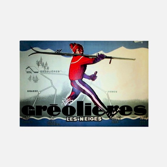 French Alps Skiing Rectangle Magnet