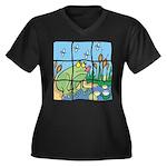 Frog Women's Plus Size V-Neck Dark T-Shirt