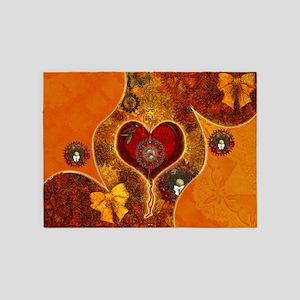 Steampunk, wonderful steam heart with clock 5'x7'A