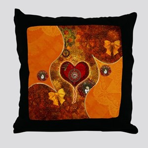 Steampunk, wonderful steam heart with clock Throw