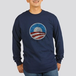 Obama Yes We Did Distressed Long Sleeve Dark T-Shi