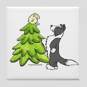 Border Collie Christmas Tile Coaster