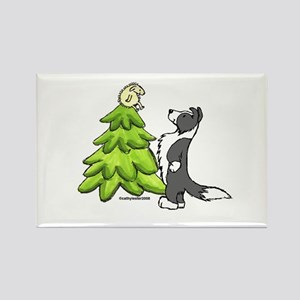 Border Collie Christmas Rectangle Magnet