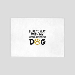 Play With Australian Shepherd Desig 5'x7'Area Rug