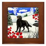 FLAT COATED RETRIEVER DOG WINTER Framed Tile
