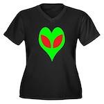 Alien Heart Women's Plus Size V-Neck Dark T-Shirt