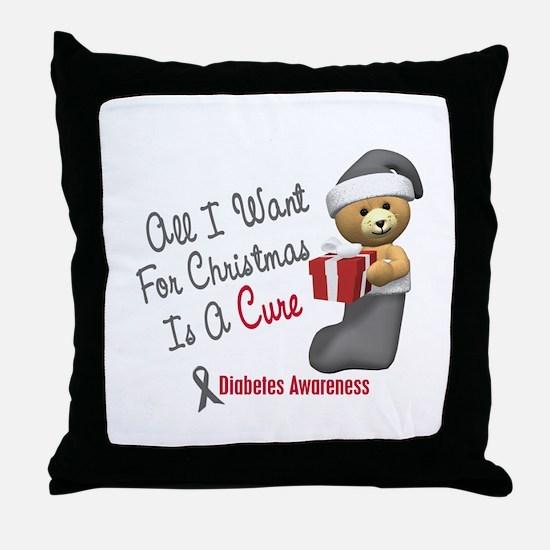 Bear In Stocking 1 Diabetes Throw Pillow