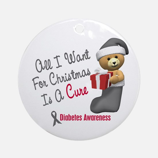 Bear In Stocking 1 Diabetes Ornament (Round)