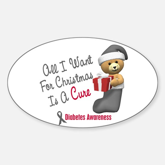 Bear In Stocking 1 Diabetes Sticker (Oval)