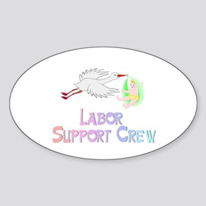 Labor Support Crew (Stork) Oval Sticker