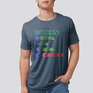 My Brain, 90% Skate Boardin Mens Tri-blend T-Shirt