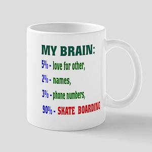 My Brain, 90% Skate Boarding 11 oz Ceramic Mug