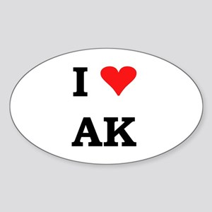 I Heart Alaska Oval Sticker