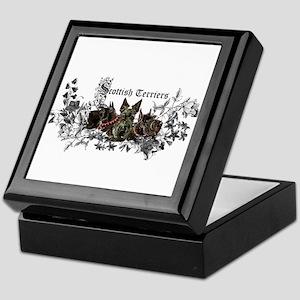 Scottish Terrier Floral Keepsake Box