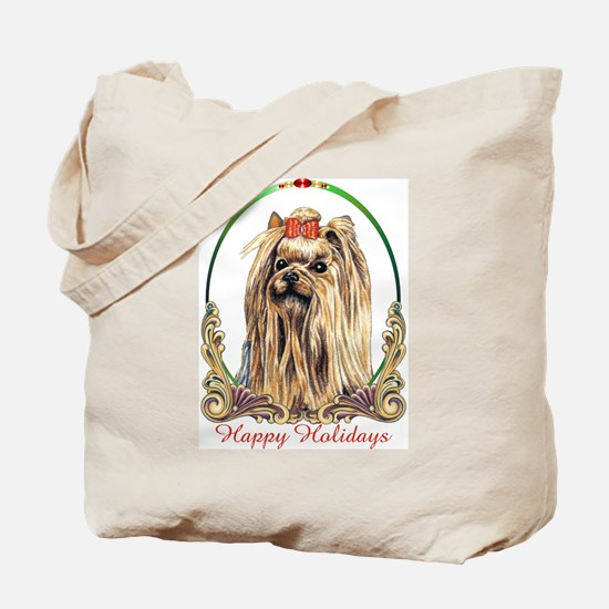 Yorkshire Terrier Yorkie Happy Holidays Tote Bag