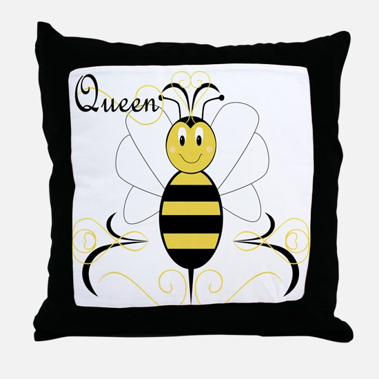 Smiling Bumble Bee Queen Bee Throw Pillow