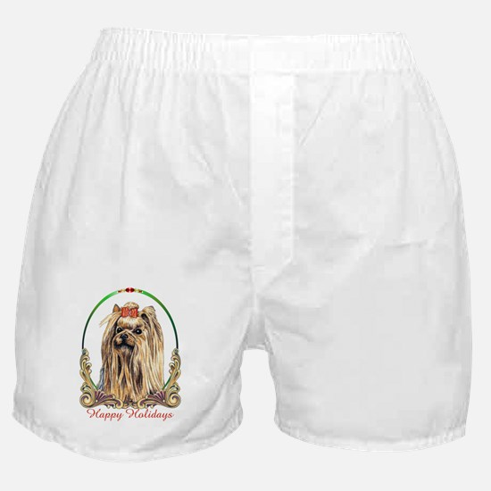 Yorkshire Terrier Dog Happy Holidays  Boxer Shorts
