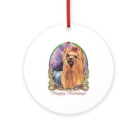 Yorkie Dog Breed Happy Holidays Ornament (Round)