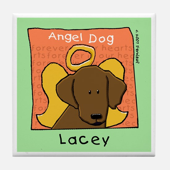 Angel Chocolate Labrador Tile Coaster