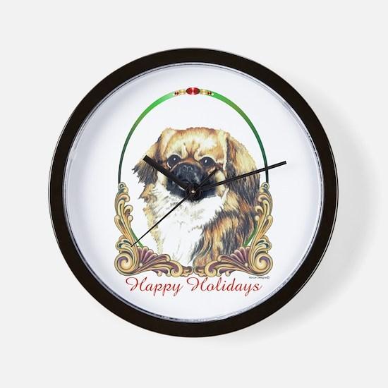 Tibetan Spaniel Holiday Wall Clock