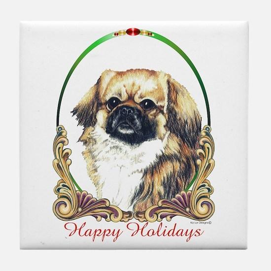 Tibetan Spaniel Holiday Tile Coaster