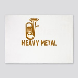 Funny Tuba Player Play Heavy Metal 5'x7'Area Rug