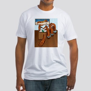 Belly Up to the Weiner Bar Fitted T-Shirt