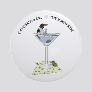 Piebald Cocktail Wiener Ornament (Round)