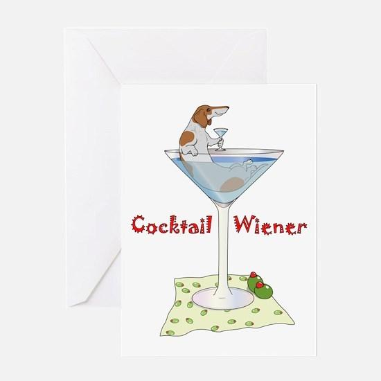 Red Piebald Cocktail Wiener Greeting Card