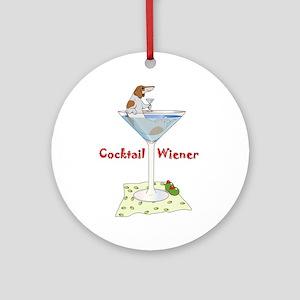 Red Piebald Cocktail Wiener Ornament (Round)