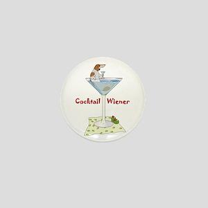 Red Piebald Cocktail Wiener Mini Button