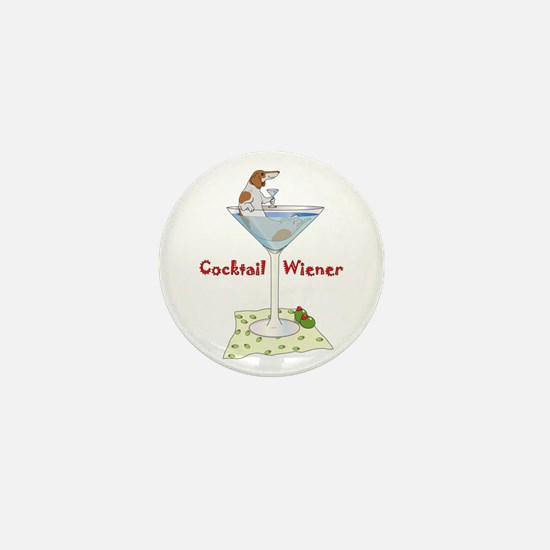 Red Piebald Cocktail Wiener Mini Button