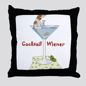 Red Piebald Cocktail Wiener Throw Pillow