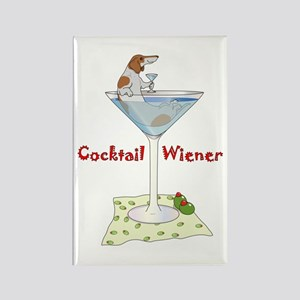 Red Piebald Cocktail Wiener Rectangle Magnet