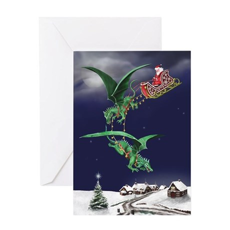Santa's Dragon Sleigh Christmas Card
