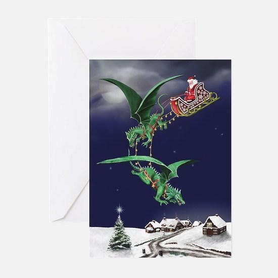 Santa's Dragon Sleigh Christmas Cards (Pk of 10)